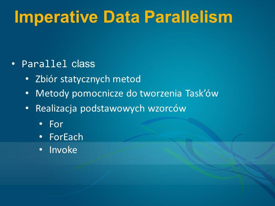 Imperative Data Parallelism Parallel class Zbiór statycznych metod Metody pomocnicze do tworzenia Tasków Realizacja podstawowych wzorców For ForEach Invoke