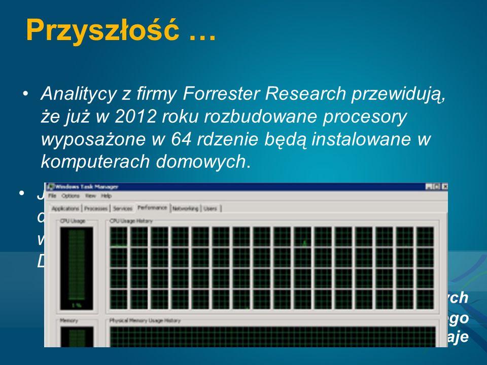 Przyszłość … Analitycy z firmy Forrester Research przewidują, że już w 2012 roku rozbudowane procesory wyposażone w 64 rdzenie będą instalowane w komputerach domowych.