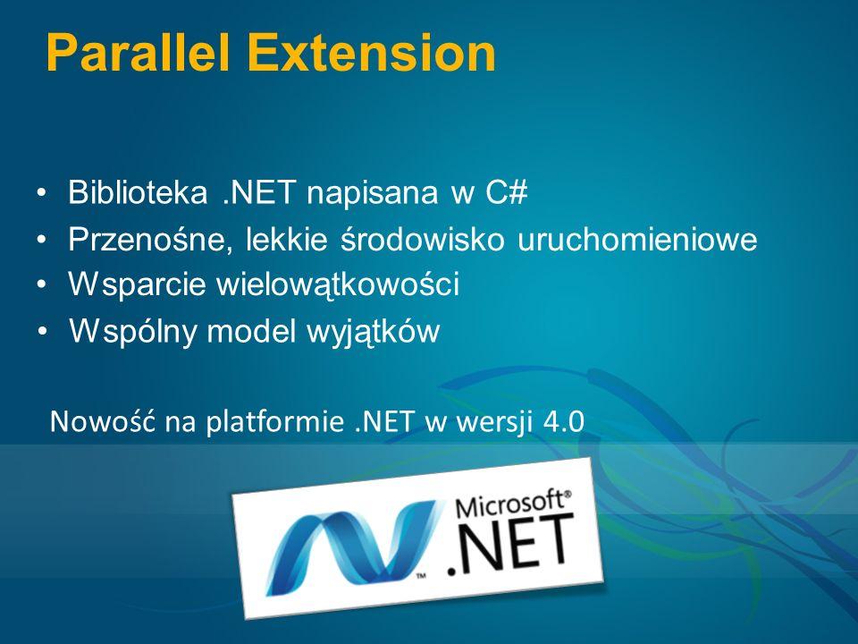 Parallel Extension Biblioteka.NET napisana w C# Przenośne, lekkie środowisko uruchomieniowe Wsparcie wielowątkowości Wspólny model wyjątków Nowość na platformie.NET w wersji 4.0