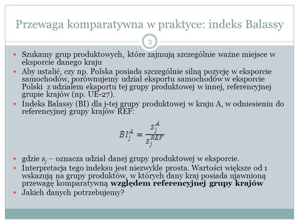 Przewaga komparatywna w praktyce: indeks Balassy 3 Szukamy grup produktowych, które zajmują szczególnie ważne miejsce w eksporcie danego kraju Aby ust