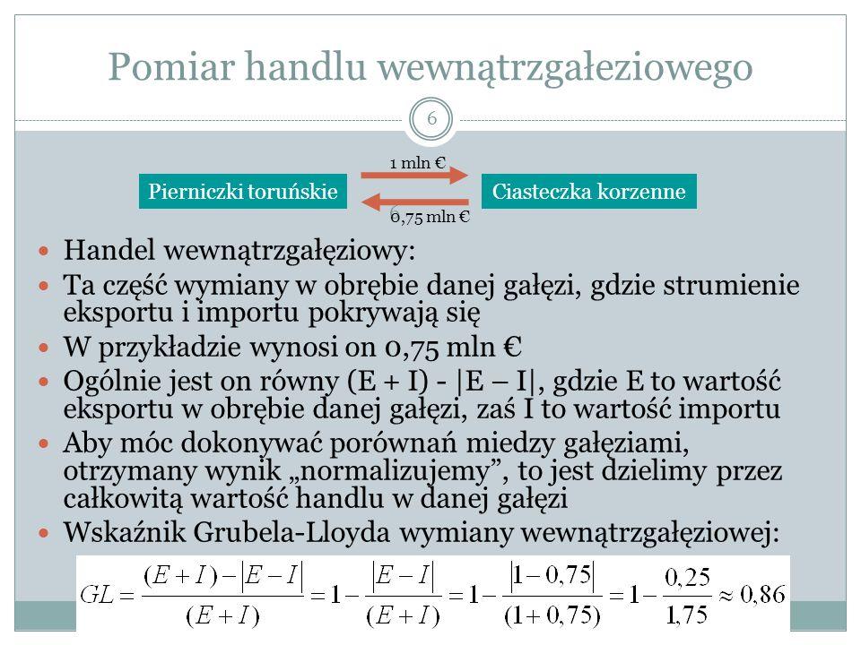 Pomiar handlu wewnątrzgałeziowego 6 Handel wewnątrzgałęziowy: Ta część wymiany w obrębie danej gałęzi, gdzie strumienie eksportu i importu pokrywają s