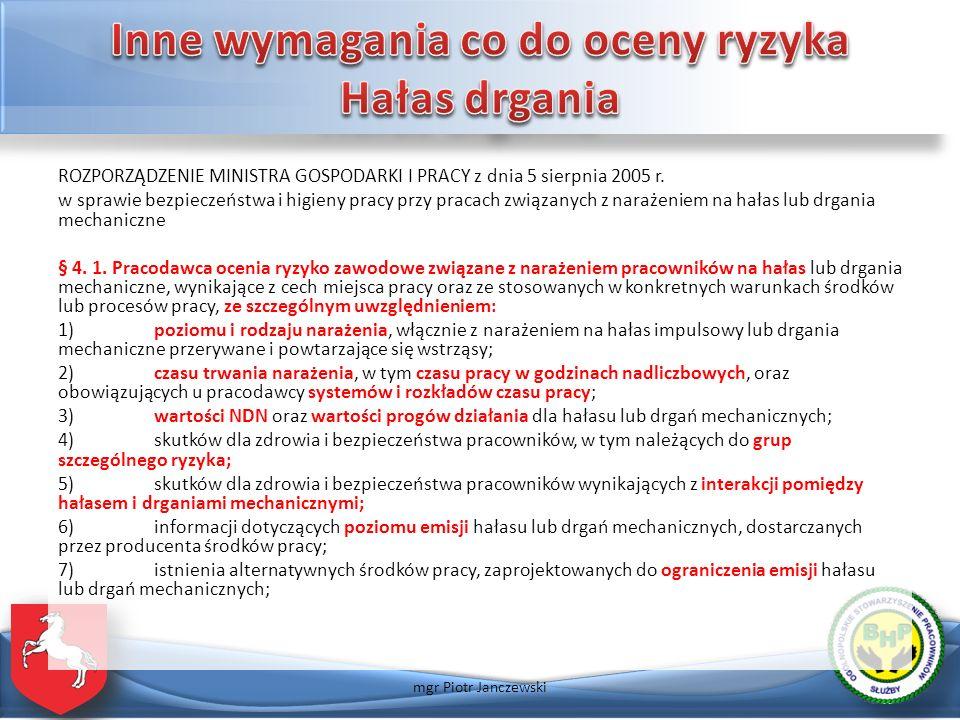 ROZPORZĄDZENIE MINISTRA GOSPODARKI I PRACY z dnia 5 sierpnia 2005 r. w sprawie bezpieczeństwa i higieny pracy przy pracach związanych z narażeniem na