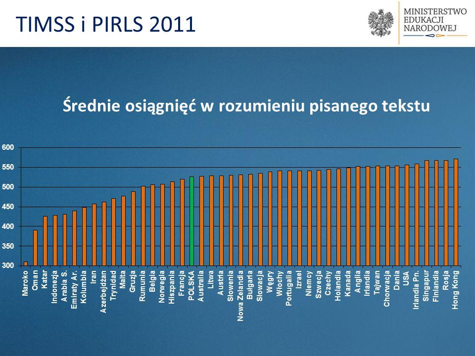 TIMSS i PIRLS 2011 Średnie osiągnięć w rozumieniu pisanego tekstu