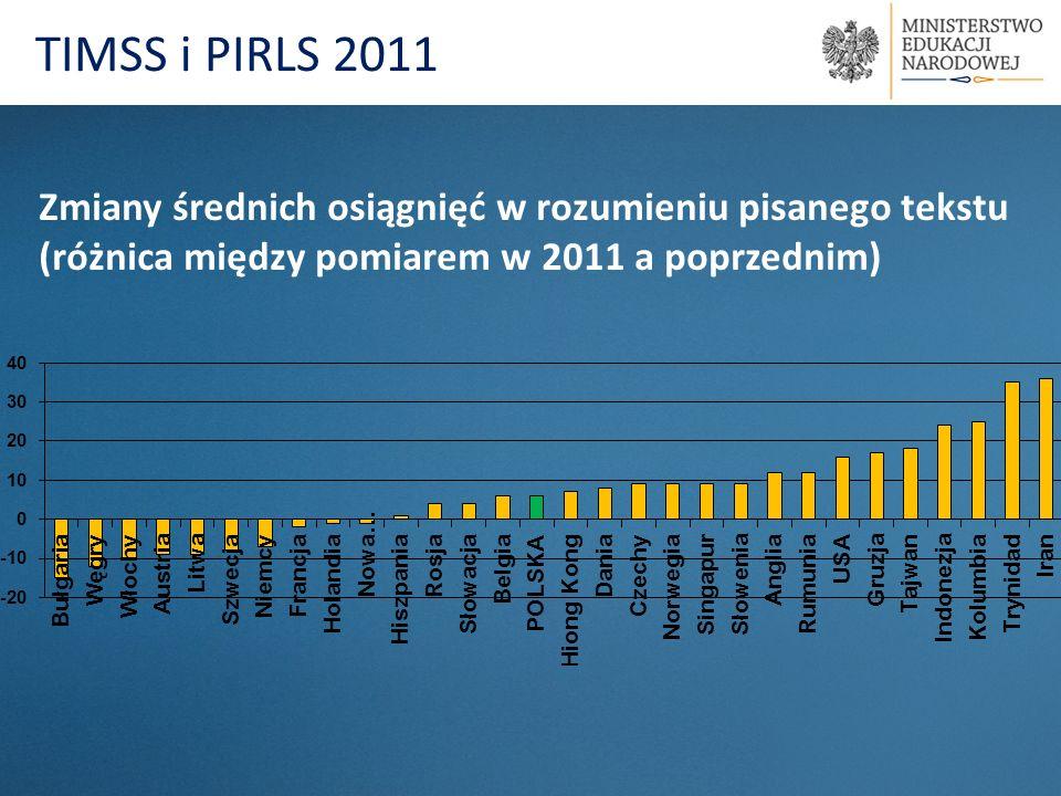 TIMSS i PIRLS 2011 Zmiany średnich osiągnięć w rozumieniu pisanego tekstu (różnica między pomiarem w 2011 a poprzednim)