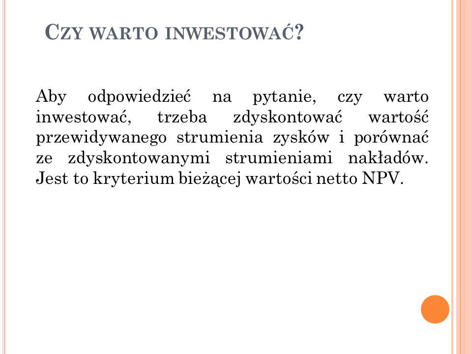 NPV – WARTOŚĆ BIEŻĄCA NETTO NPV określa korzyści netto, jakie firma osiąga z inwestycji.