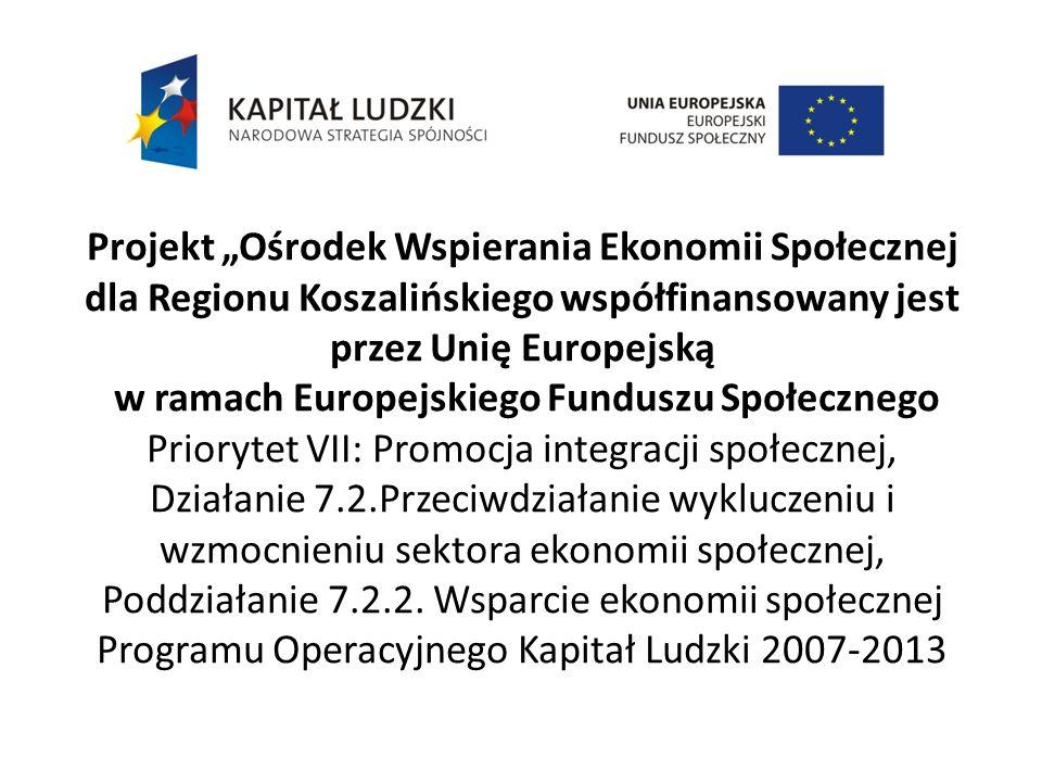 Projekt Ośrodek Wspierania Ekonomii Społecznej dla Regionu Koszalińskiego współfinansowany jest przez Unię Europejską w ramach Europejskiego Funduszu Społecznego Priorytet VII: Promocja integracji społecznej, Działanie 7.2.Przeciwdziałanie wykluczeniu i wzmocnieniu sektora ekonomii społecznej, Poddziałanie 7.2.2.