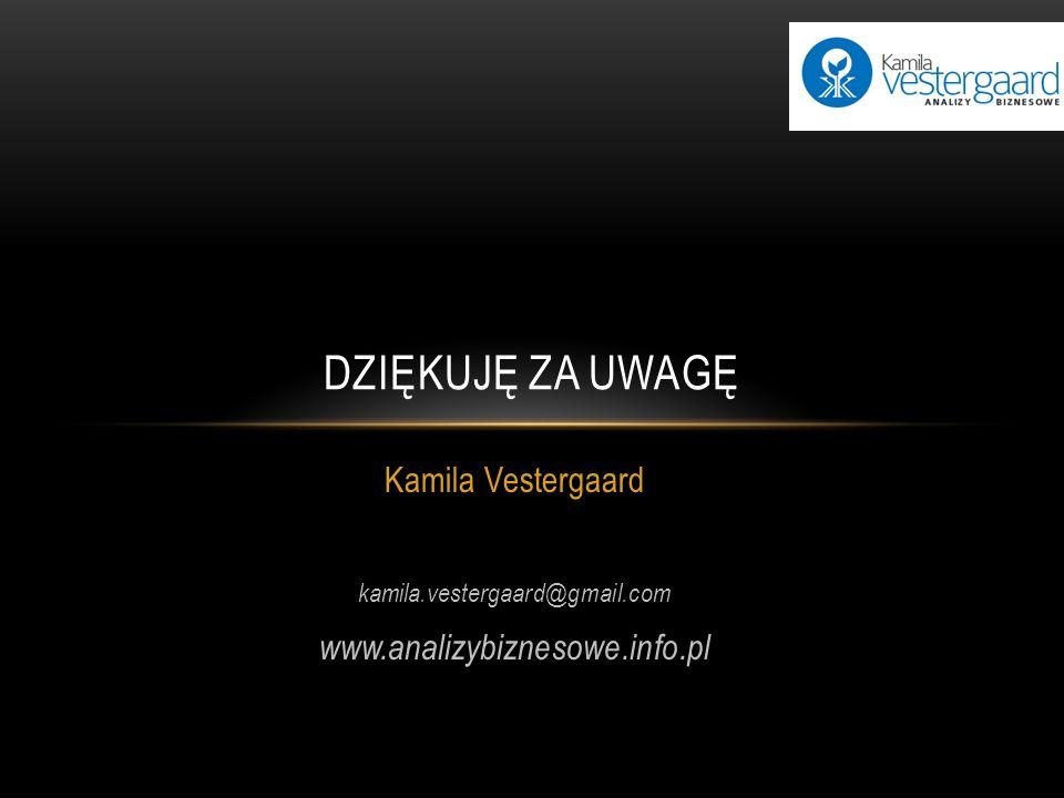 Kamila Vestergaard kamila.vestergaard@gmail.com www.analizybiznesowe.info.pl DZIĘKUJĘ ZA UWAGĘ
