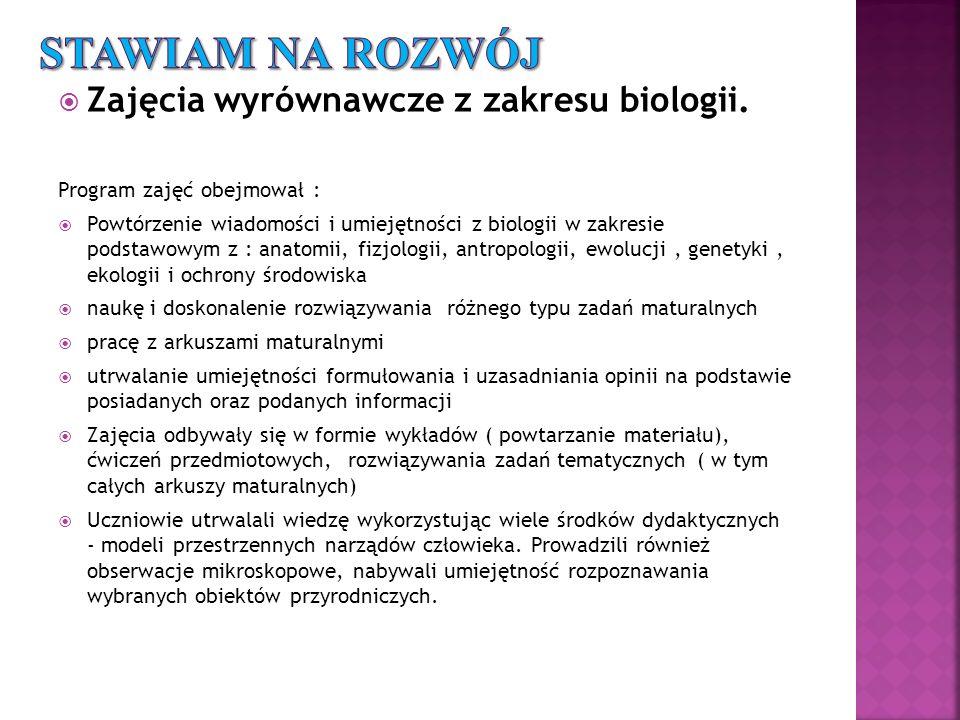 Zajęcia wyrównawcze z zakresu biologii.