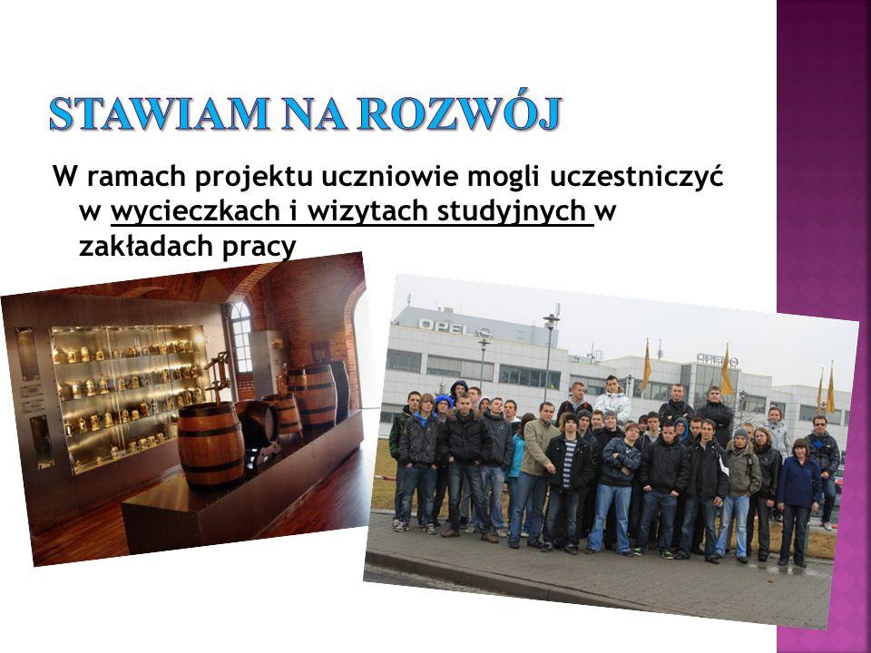 W ramach projektu uczniowie mogli uczestniczyć w wycieczkach i wizytach studyjnych w zakładach pracy
