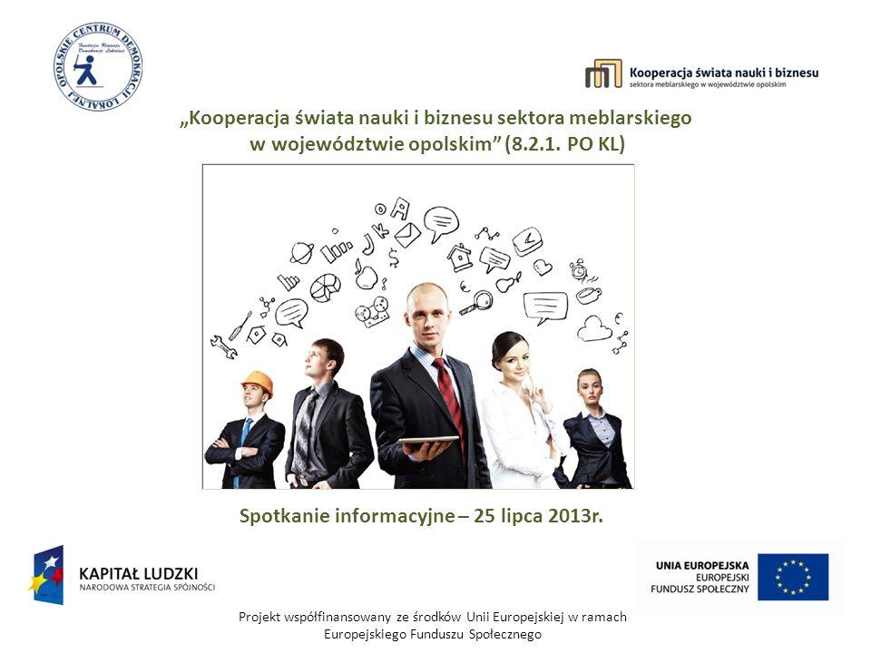 Projekt współfinansowany ze środków Unii Europejskiej w ramach Europejskiego Funduszu Społecznego Kooperacja świata nauki i biznesu sektora meblarskiego w województwie opolskim (8.2.1.