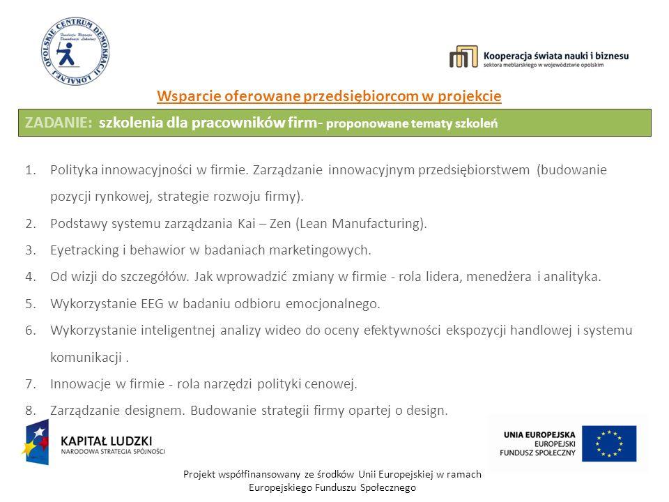 Projekt współfinansowany ze środków Unii Europejskiej w ramach Europejskiego Funduszu Społecznego Wsparcie oferowane przedsiębiorcom w projekcie ZADANIE: szkolenia dla pracowników firm- proponowane tematy szkoleń 1.Polityka innowacyjności w firmie.