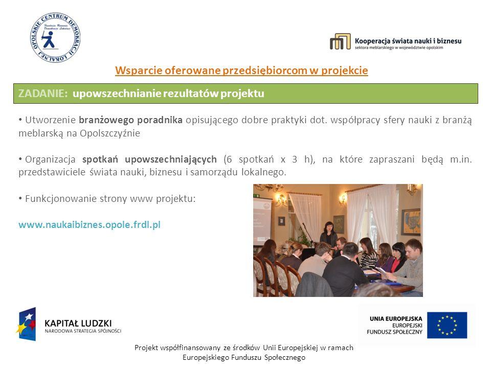 Projekt współfinansowany ze środków Unii Europejskiej w ramach Europejskiego Funduszu Społecznego Wsparcie oferowane przedsiębiorcom w projekcie ZADANIE: upowszechnianie rezultatów projektu Utworzenie branżowego poradnika opisującego dobre praktyki dot.