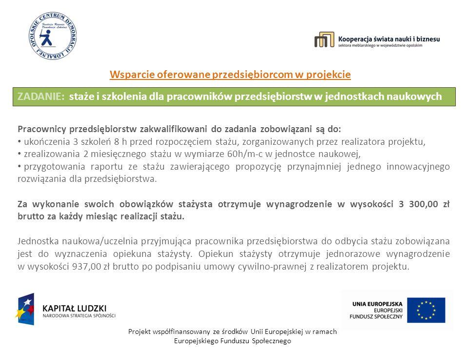 Projekt współfinansowany ze środków Unii Europejskiej w ramach Europejskiego Funduszu Społecznego Wsparcie oferowane przedsiębiorcom w projekcie ZADANIE: staże i szkolenia dla pracowników przedsiębiorstw w jednostkach naukowych Pracownicy przedsiębiorstw zakwalifikowani do zadania zobowiązani są do: ukończenia 3 szkoleń 8 h przed rozpoczęciem stażu, zorganizowanych przez realizatora projektu, zrealizowania 2 miesięcznego stażu w wymiarze 60h/m-c w jednostce naukowej, przygotowania raportu ze stażu zawierającego propozycję przynajmniej jednego innowacyjnego rozwiązania dla przedsiębiorstwa.
