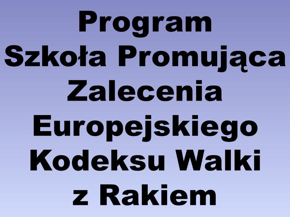 Założenia programu: Zwiększanie zakresu wiedzy uczniów na temat roli poszczególnych elementów stylu życia w profilaktyce nowotworów złośliwych poprzez zapoznanie z zaleceniami Europejskiego Kodeksu Walki z Rakiem.