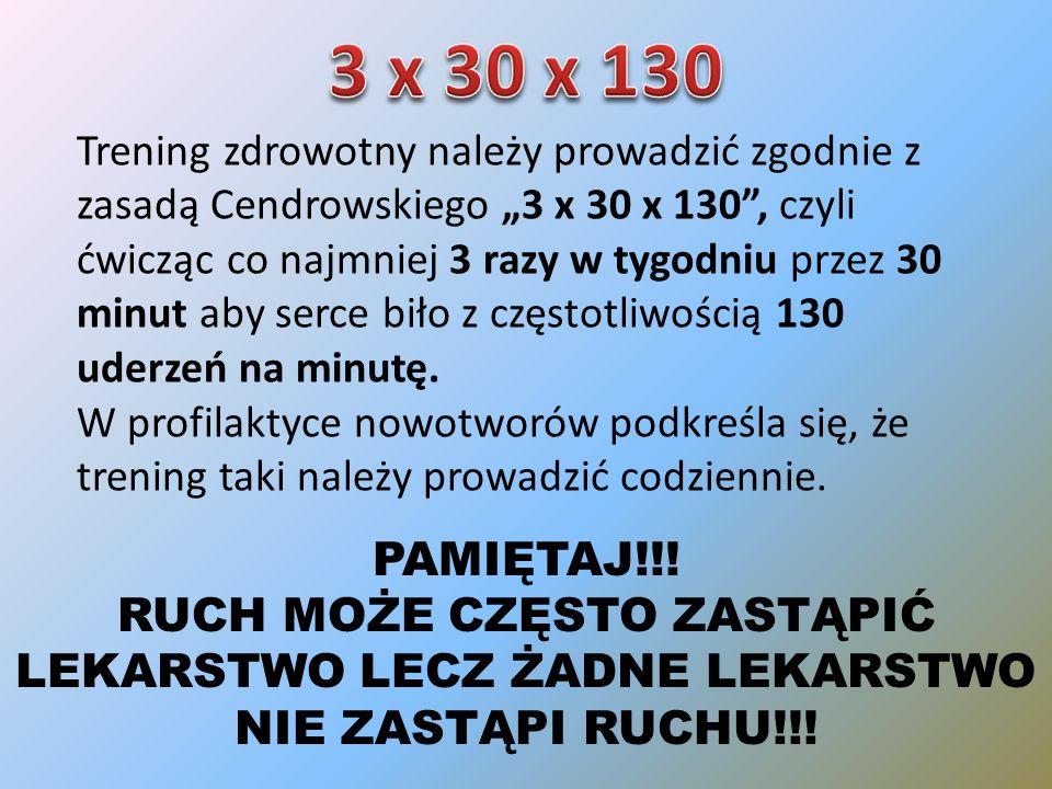 Trening zdrowotny należy prowadzić zgodnie z zasadą Cendrowskiego 3 x 30 x 130, czyli ćwicząc co najmniej 3 razy w tygodniu przez 30 minut aby serce biło z częstotliwością 130 uderzeń na minutę.