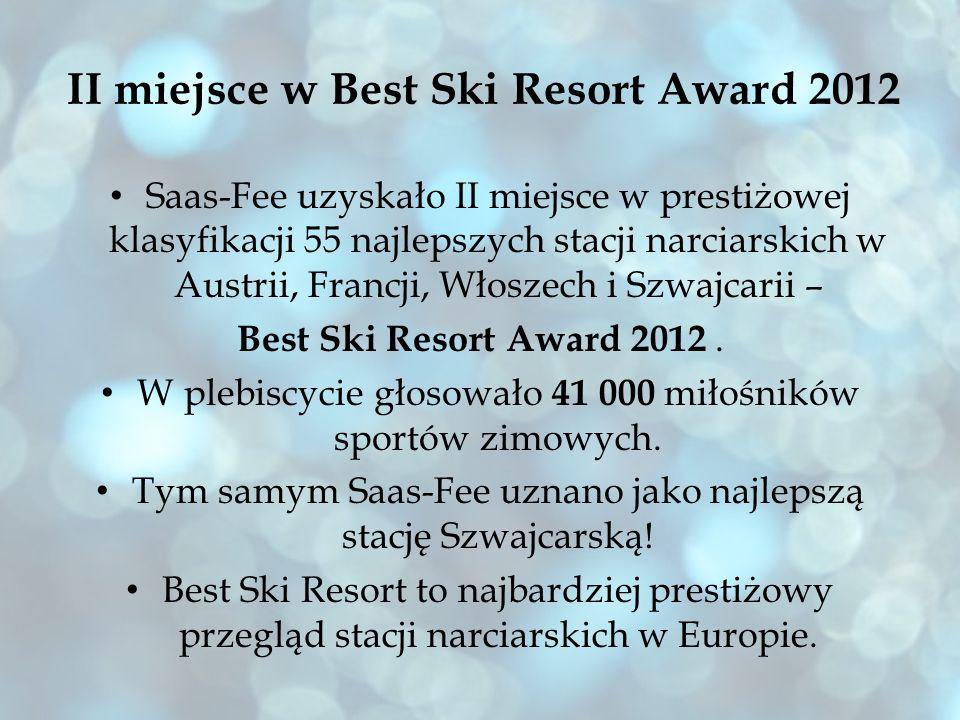 II miejsce w Best Ski Resort Award 2012 Saas-Fee uzyskało II miejsce w prestiżowej klasyfikacji 55 najlepszych stacji narciarskich w Austrii, Francji,