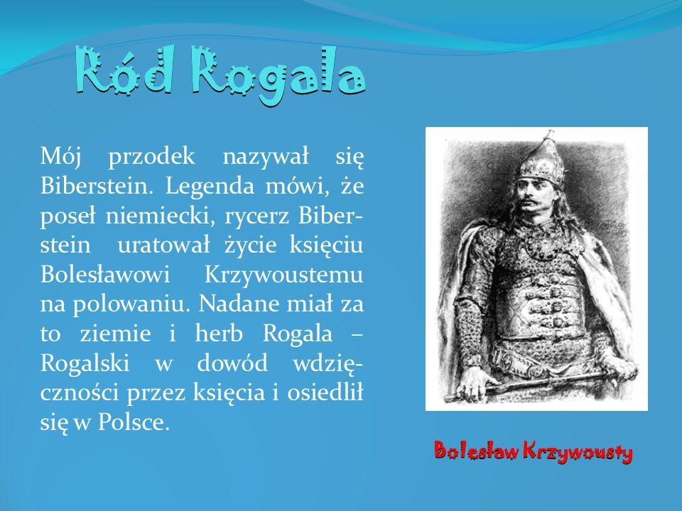 Ród Rogala Mój przodek nazywał się Biberstein. Legenda mówi, że poseł niemiecki, rycerz Biber- stein uratował życie księciu Bolesławowi Krzywoustemu n