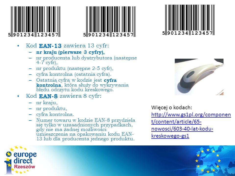Kod EAN-13 zawiera 13 cyfr: – nr kraju (pierwsze 3 cyfry), – nr producenta lub dystrybutora (następne 4-7 cyfr), – nr produktu (następne 2-5 cyfr), – cyfra kontrolna (ostatnia cyfra).