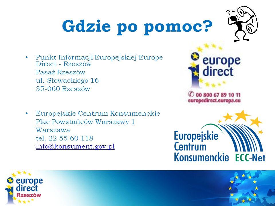 Gdzie po pomoc.Punkt Informacji Europejskiej Europe Direct - Rzeszów Pasaż Rzeszów ul.
