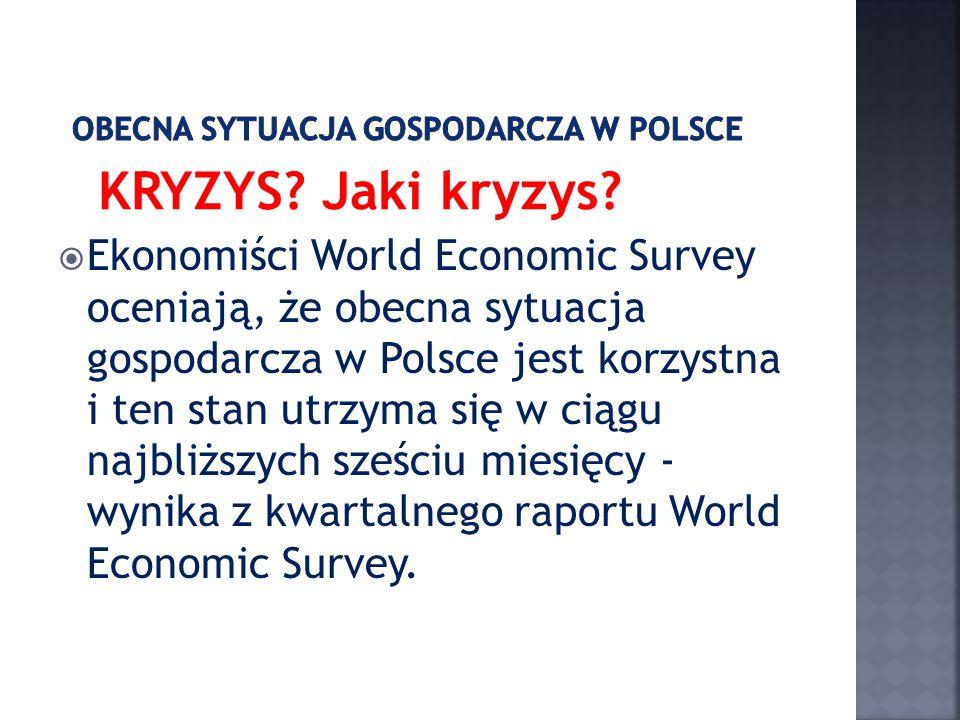 KRYZYS? Jaki kryzys? Ekonomiści World Economic Survey oceniają, że obecna sytuacja gospodarcza w Polsce jest korzystna i ten stan utrzyma się w ciągu
