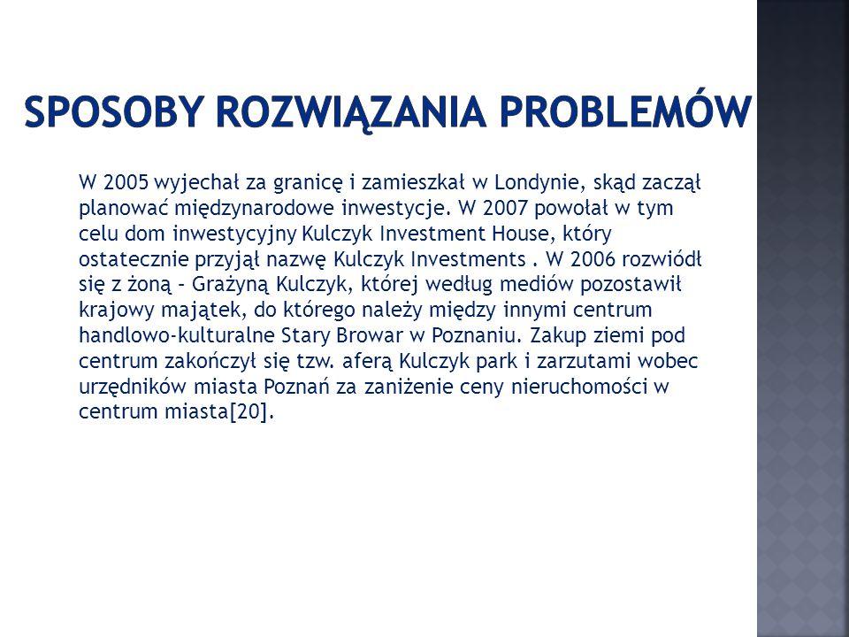 Do inwestycji zrealizowanych należą m.in.: Telekomunikacja Polska SA (47,5% akcji w latach 2000–2005 objęte przez konsorcjum Kulczyk Holding SA – France Telecom SA, udział Kulczyk Holding wynosił 13,6%), Polska Telefonia Cyfrowa Sp.