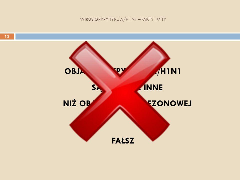 WIRUS GRYPY TYPU A/H1N1 – FAKTY I MITY 13 OBJAWY GRYPY TYPU A/H1N1 SĄ ZUPEŁNIE INNE NIŻ OBJAWY GRYPY SEZONOWEJ FAŁSZ