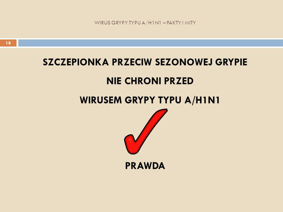 WIRUS GRYPY TYPU A/H1N1 – FAKTY I MITY 18 SZCZEPIONKA PRZECIW SEZONOWEJ GRYPIE NIE CHRONI PRZED WIRUSEM GRYPY TYPU A/H1N1 PRAWDA