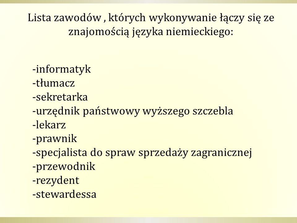 Lista zawodów, których wykonywanie łączy się ze znajomością języka niemieckiego: -informatyk -tłumacz -sekretarka -urzędnik państwowy wyższego szczebl