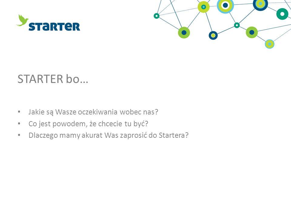 STARTER bo… Jakie są Wasze oczekiwania wobec nas? Co jest powodem, że chcecie tu być? Dlaczego mamy akurat Was zaprosić do Startera?
