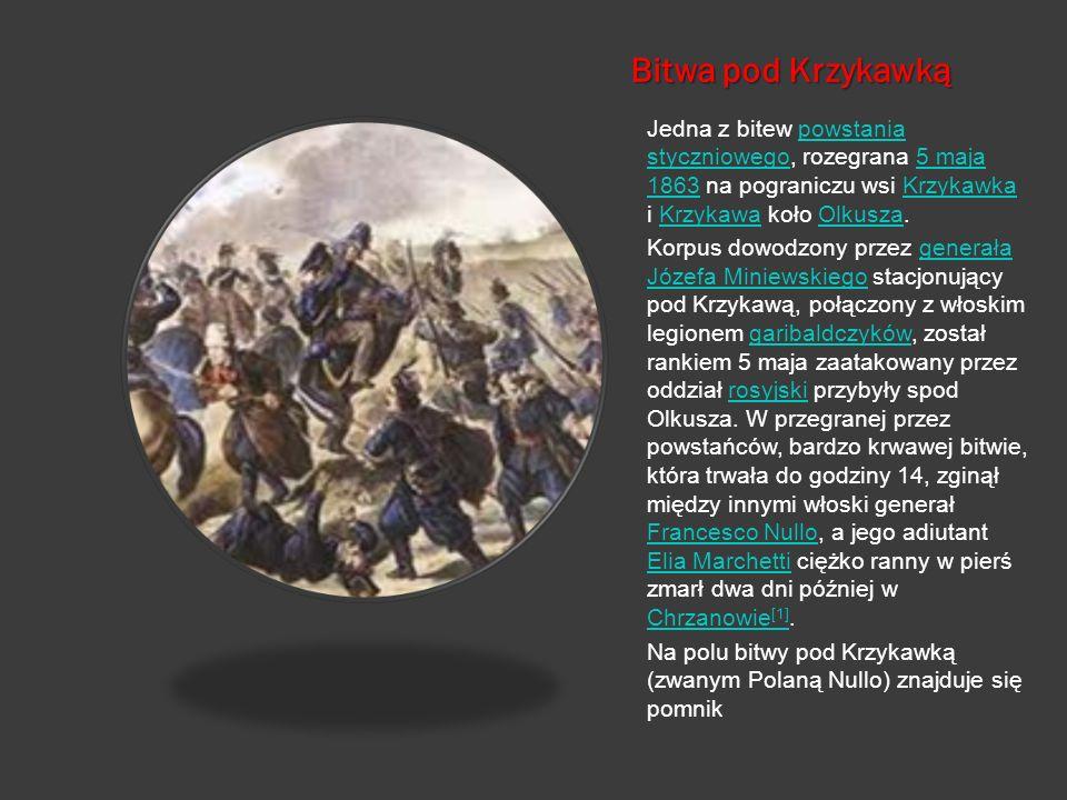 Bitwa pod Krzykawką Jedna z bitew powstania styczniowego, rozegrana 5 maja 1863 na pograniczu wsi Krzykawka i Krzykawa koło Olkusza.powstania stycznio