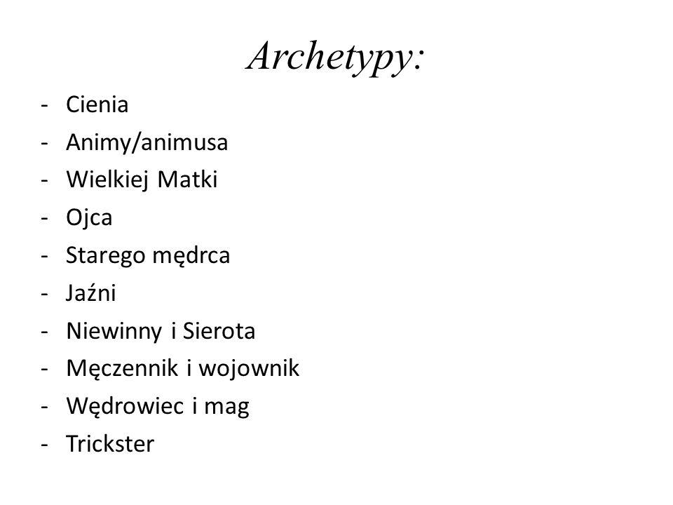 Archetypy: -Cienia -Animy/animusa -Wielkiej Matki -Ojca -Starego mędrca -Jaźni -Niewinny i Sierota -Męczennik i wojownik -Wędrowiec i mag -Trickster