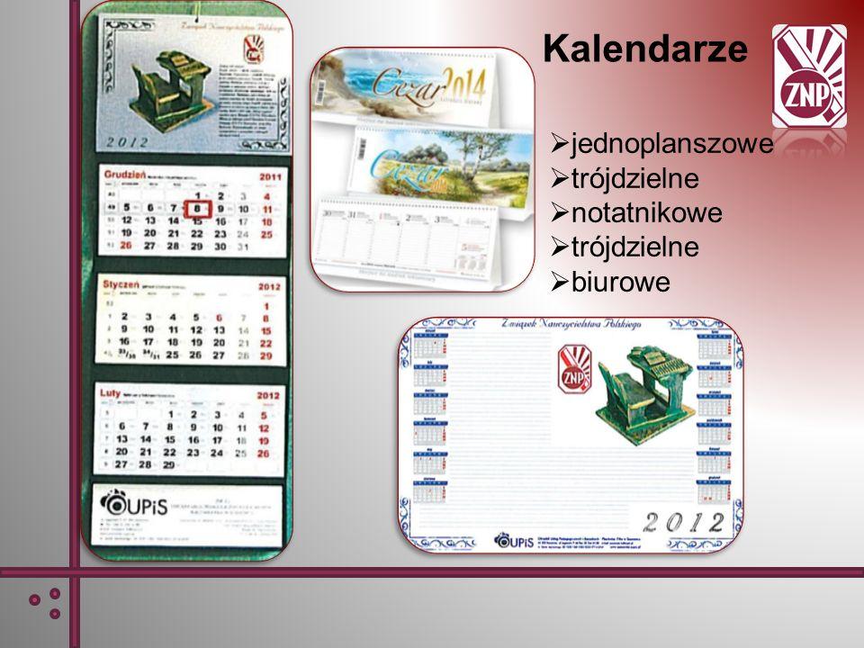 Kalendarze jednoplanszowe trójdzielne notatnikowe trójdzielne biurowe