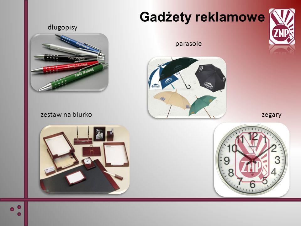 Gadżety reklamowe długopisy parasole zestaw na biurkozegary