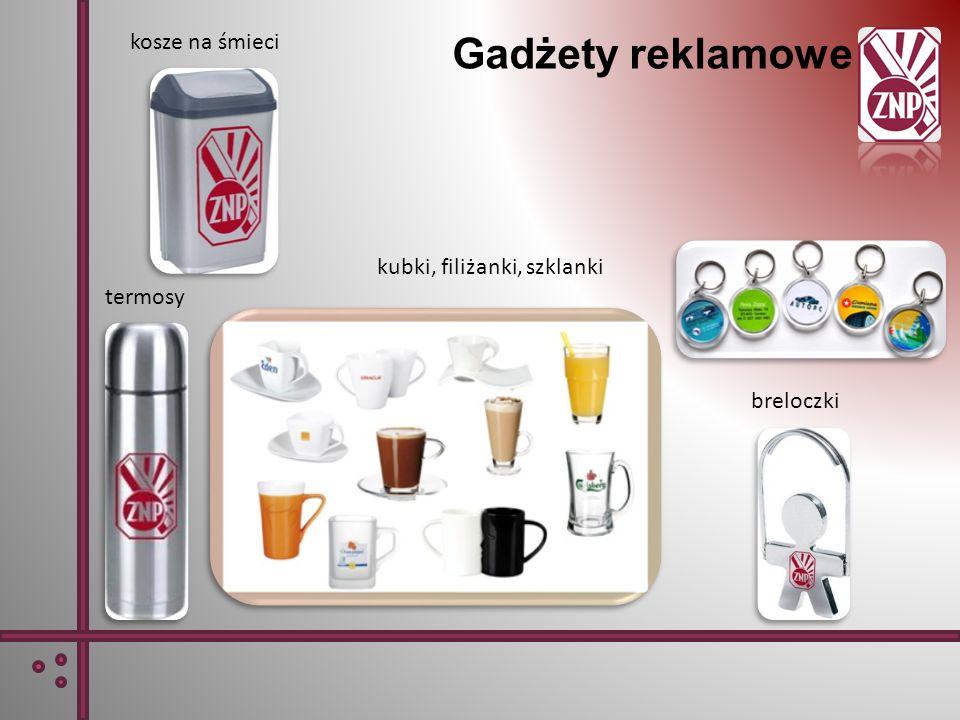 Gadżety reklamowe kosze na śmieci termosy breloczki kubki, filiżanki, szklanki