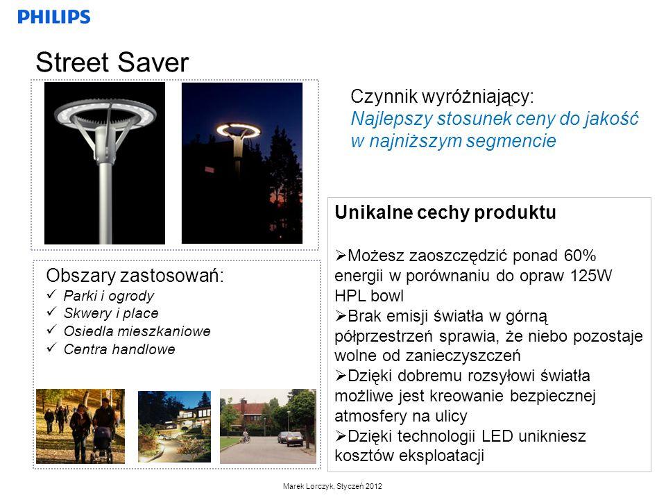 Marek Lorczyk, Styczeń 2012 Czynnik wyróżniający: Najlepszy stosunek ceny do jakość w najniższym segmencie Unikalne cechy produktu Możesz zaoszczędzić