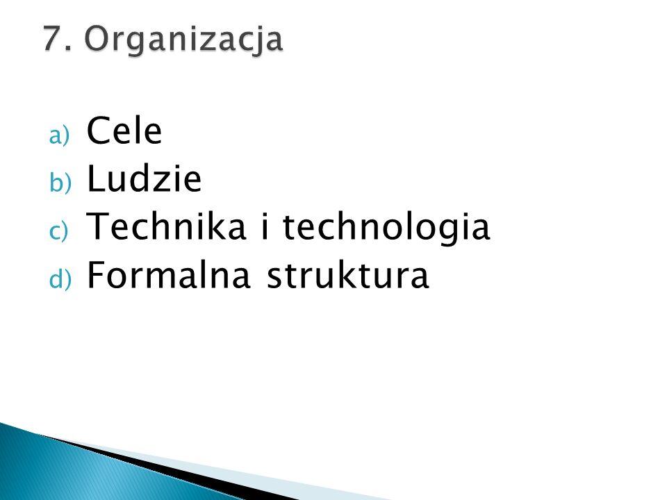 a) Cele b) Ludzie c) Technika i technologia d) Formalna struktura