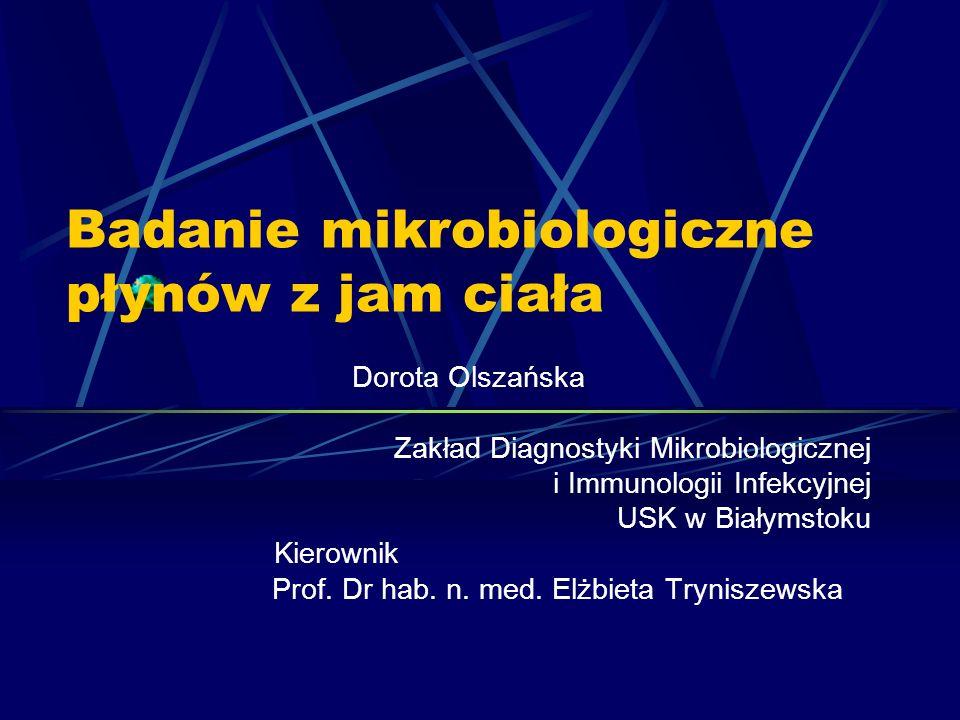 Badanie mikrobiologiczne płynów z jam ciała Dorota Olszańska Zakład Diagnostyki Mikrobiologicznej i Immunologii Infekcyjnej USK w Białymstoku Kierowni