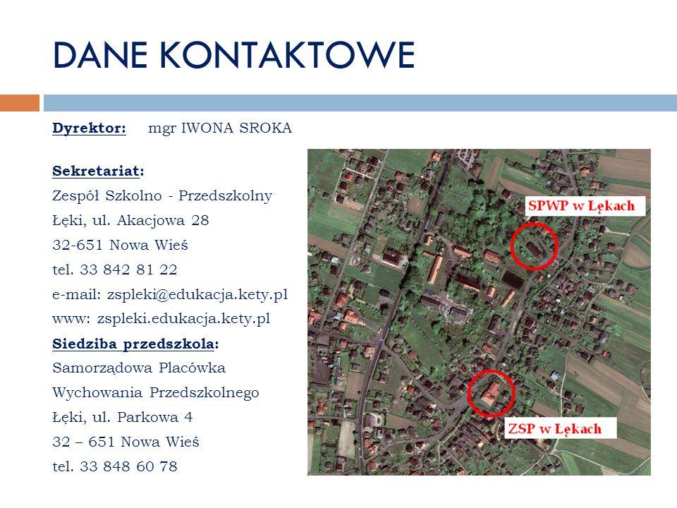 DANE KONTAKTOWE Dyrektor: mgr IWONA SROKA Sekretariat: Zespół Szkolno - Przedszkolny Łęki, ul. Akacjowa 28 32-651 Nowa Wieś tel. 33 842 81 22 e-mail: