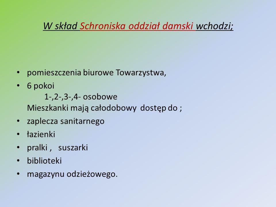 W skład Schroniska oddział damski wchodzi; pomieszczenia biurowe Towarzystwa, 6 pokoi 1-,2-,3-,4- osobowe Mieszkanki mają całodobowy dostęp do ; zaple