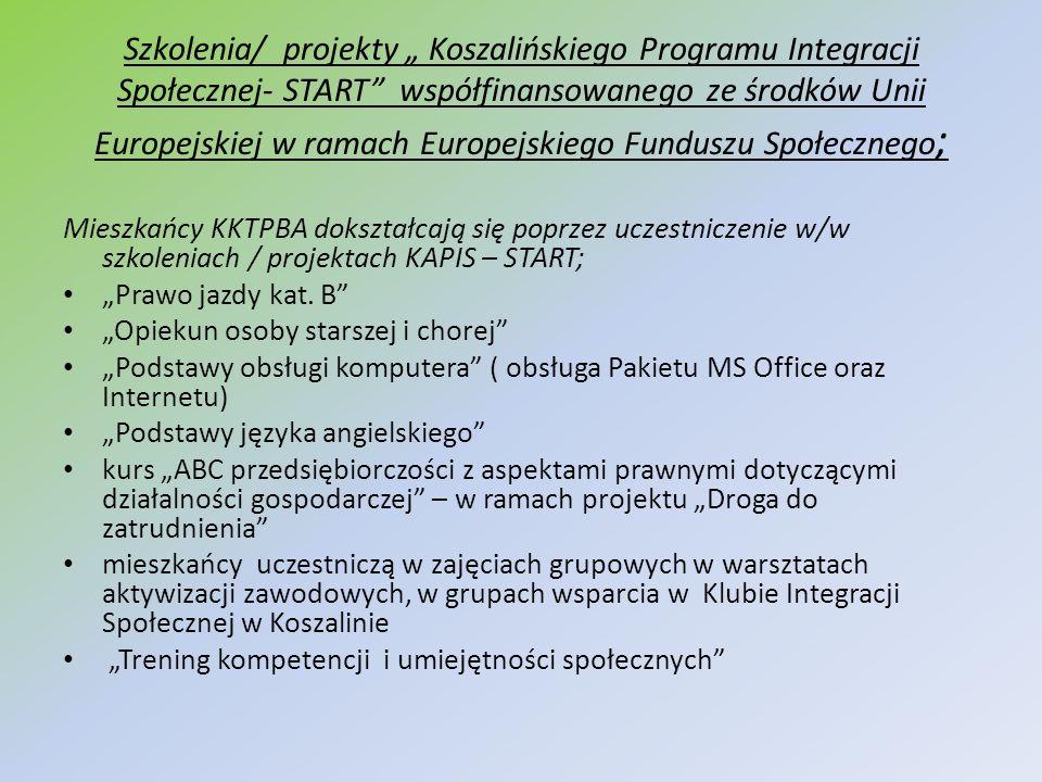 Szkolenia/ projekty Koszalińskiego Programu Integracji Społecznej- START współfinansowanego ze środków Unii Europejskiej w ramach Europejskiego Fundus
