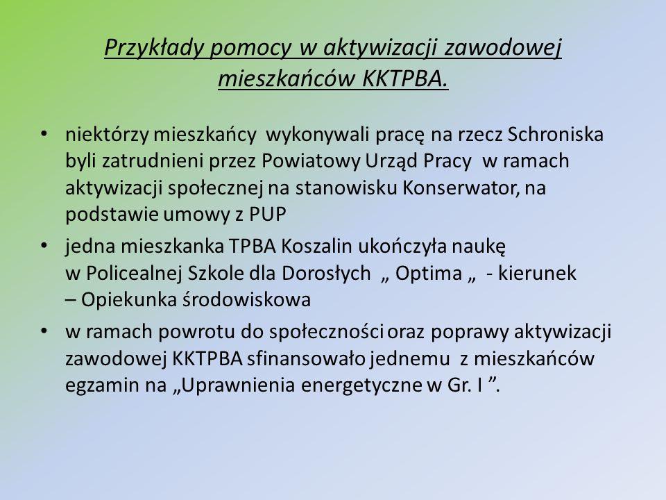 Przykłady pomocy w aktywizacji zawodowej mieszkańców KKTPBA. niektórzy mieszkańcy wykonywali pracę na rzecz Schroniska byli zatrudnieni przez Powiatow