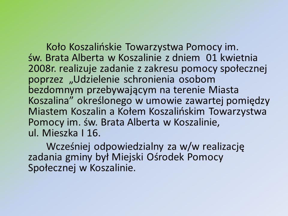 Koło Koszalińskie Towarzystwa Pomocy im. św. Brata Alberta w Koszalinie z dniem 01 kwietnia 2008r. realizuje zadanie z zakresu pomocy społecznej poprz