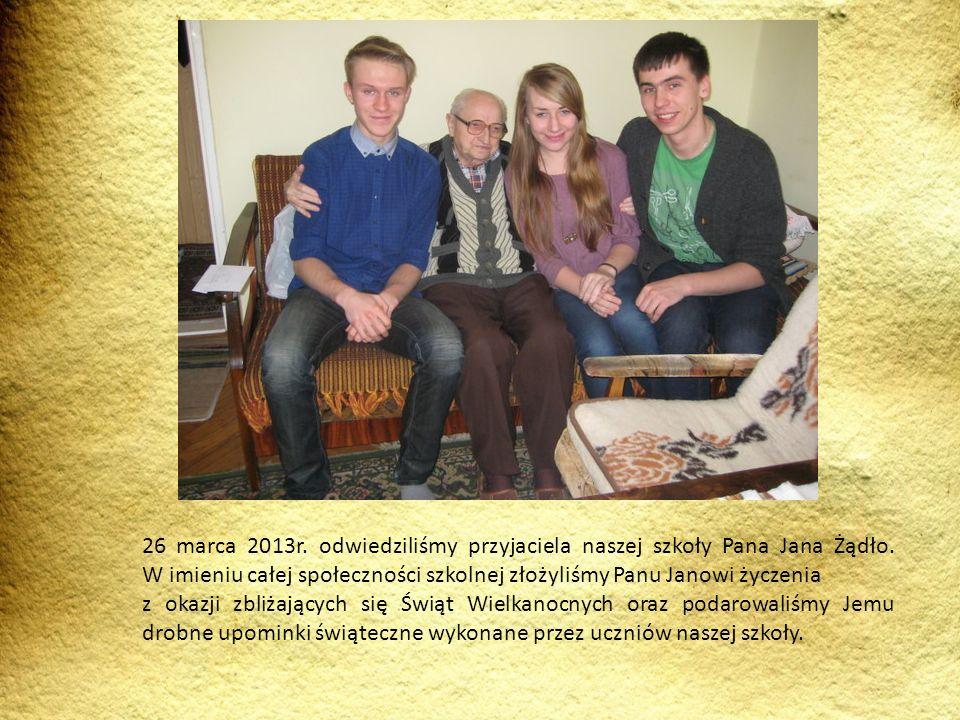 26 marca 2013r. odwiedziliśmy przyjaciela naszej szkoły Pana Jana Żądło. W imieniu całej społeczności szkolnej złożyliśmy Panu Janowi życzenia z okazj