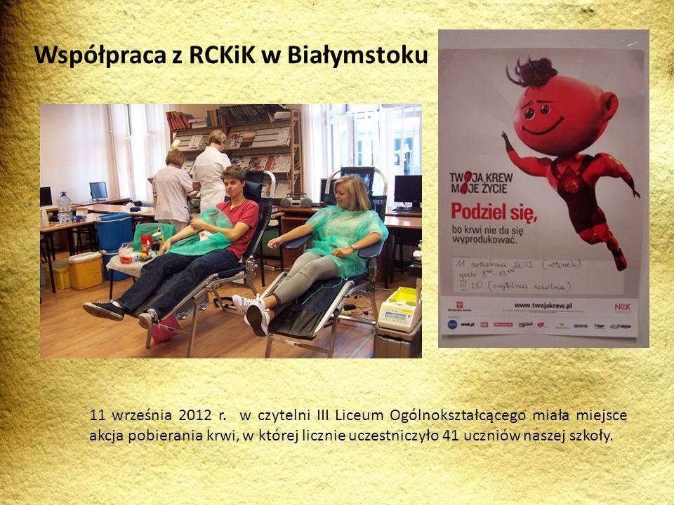 11 września 2012 r. w czytelni III Liceum Ogólnokształcącego miała miejsce akcja pobierania krwi, w której licznie uczestniczyło 41 uczniów naszej szk