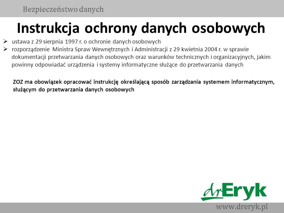 Instrukcja ochrony danych osobowych ustawa z 29 sierpnia 1997 r. o ochronie danych osobowych rozporządzenie Ministra Spraw Wewnętrznych i Administracj