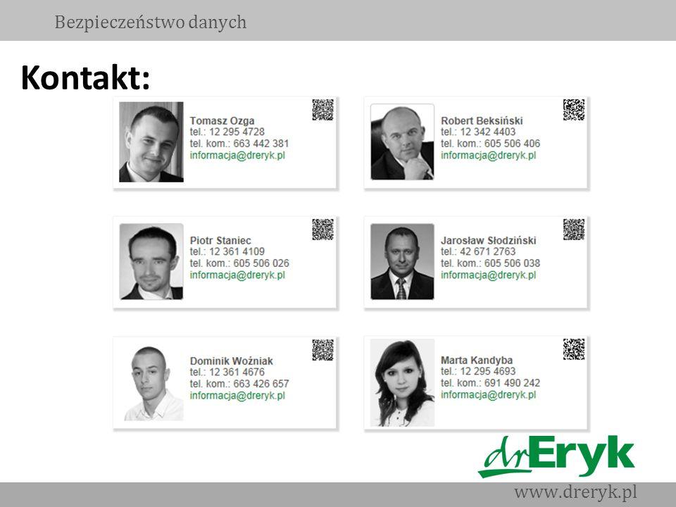 Bezpieczeństwo danych www.dreryk.pl Kontakt: