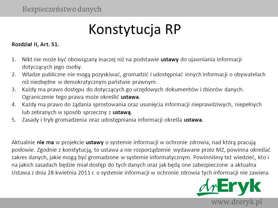 Konstytucja RP Bezpieczeństwo danych www.dreryk.pl Rozdział II, Art. 51. 1.Nikt nie może być obowiązany inaczej niż na podstawie ustawy do ujawniania