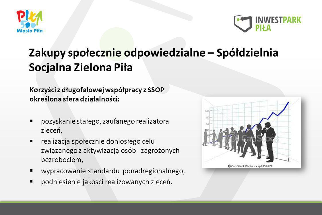 Zakupy społecznie odpowiedzialne – Spółdzielnia Socjalna Zielona Piła Korzyści z długofalowej współpracy z SSOP określona sfera działalności: pozyskan