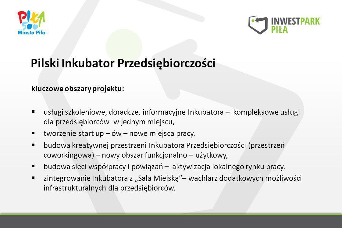 Pilski Inkubator Przedsiębiorczości kluczowe obszary projektu: usługi szkoleniowe, doradcze, informacyjne Inkubatora – kompleksowe usługi dla przedsię