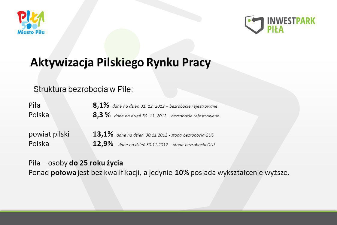 Aktywizacja Pilskiego Rynku Pracy Struktura bezrobocia w Pile: Piła 8,1% dane na dzień 31. 12. 2012 – bezrobocie rejestrowane Polska 8,3 % dane na dzi